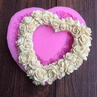 Aşk Kalp Gül Şekilli Sıvı Silikon Kek Kalıpları DIY Fondan Kek Pişirme Dekorasyon Araçları Silikon Insan Kalp Kek Kalıp