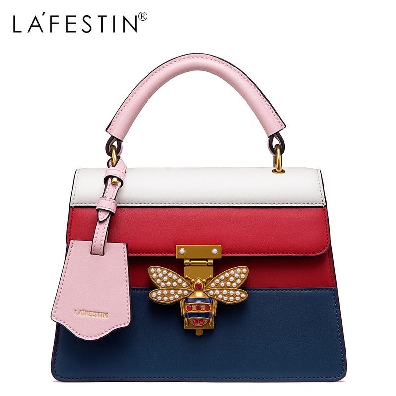 LAFESTIN femmes sac à main en cuir véritable abeille épaule bandoulière sacs multifonction sac 2018 Designer marques de luxe sac bolsa