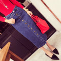 2016 Spring New Woman Skirts Pencil Fashion Office Denimnavy Jeans Of Empire Straight Mid-calf Femme Mermaid Fancy Skirts