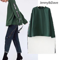 Jenny Dave 2017 Winter Unicorn Hoodies Sweatshirt Green Round Collar The Rope Adornment Set Head Women