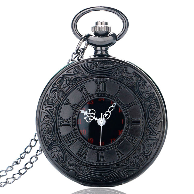 Vintage Black Roman Number Quartz Pocket Watch Men Necklace Pendant Fob Men Women Watches Gift Ship From US Epacket Dropshipping thanksgiving gift pocket watch fire firemen necklace pendant men quartz watches 30mm chain fob watch dropshipping free shipping