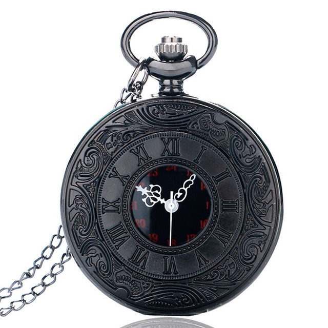 Vintage Black Roman Number Quartz Pocket Watch Men Necklace Pendant Fob Men Wome