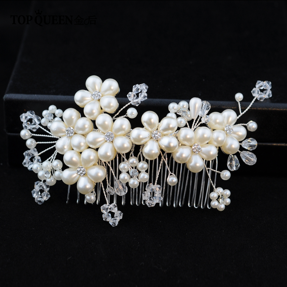 TOPQUEEN Silver Crystal Bridal Hair Pins Wholesale Hair Pins Comb Wedding Tiara Bride Vintage Pearl Tiara Pearl Hair Vine  HP05