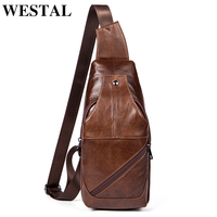 WESTAL genuine leather men's chest bag messenger bags male shoulder bag slim belt functional chest crossbody bags 1216