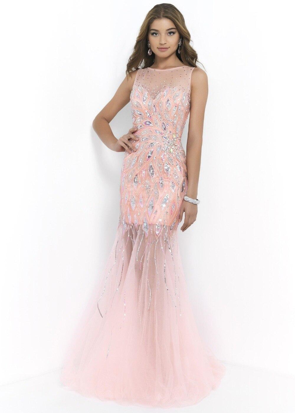 Custom Made High Quality Chic Beaded Pink Mermaid Prom Dress Plus