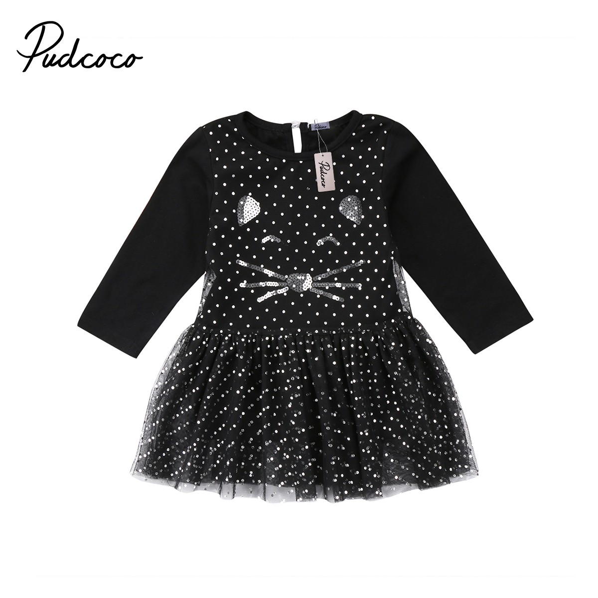 2018 Brand New Toddler Infant Child Kids Baby Girls Princess Cartoon Tulle Long Sleeve Dress Sequin Dot Cat Chiffon Clothes 1-6T