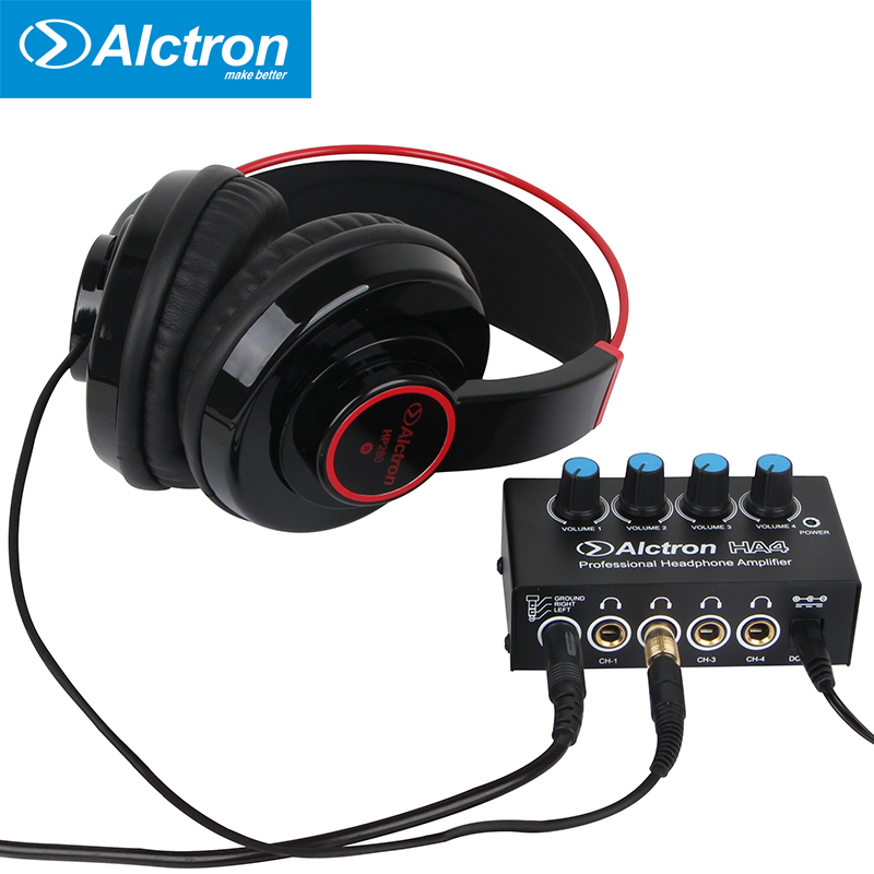 4 channels Mini Portable Headphone Amplifier 3.5mm and 6.35mm connector Stereo Power High Quality Sound