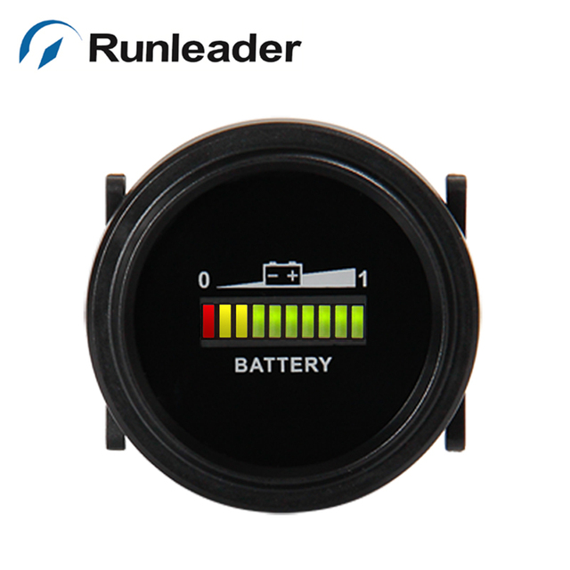 Runleader BI002 Round LED Battery Indicator 12v 24v 36v 48v 72v For golf carts motorcycle ATV Vehicle Forklift Truck