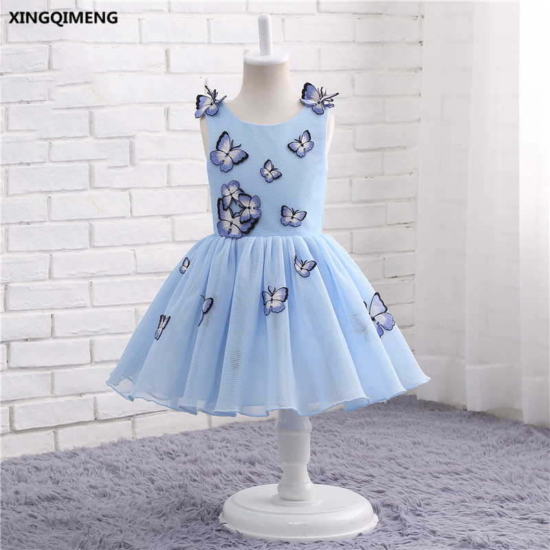 38dfde5a92ca4 In Stock Light Blue Tulle Flower Girl Dresses 1-12Y First Holy Communion  Dress for Girls Butterfly ...