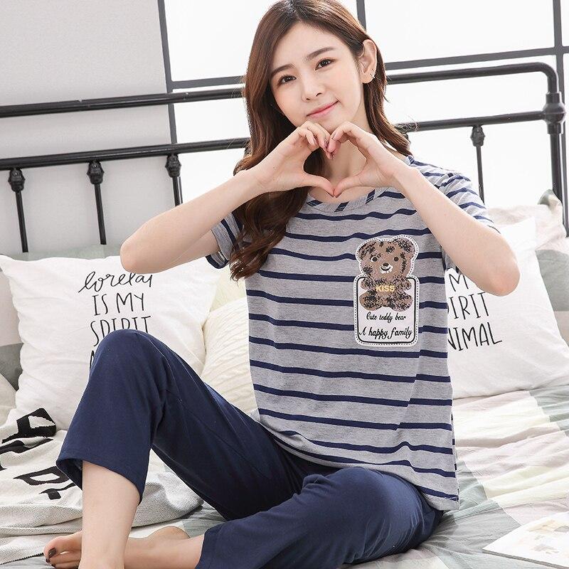 summer Women Pyjamas Thin cotton short Sleeve   Pajamas     Set   cartoon stripe Tracksuit Tops Female Pyjamas   Sets   Night Suit Sleepwear