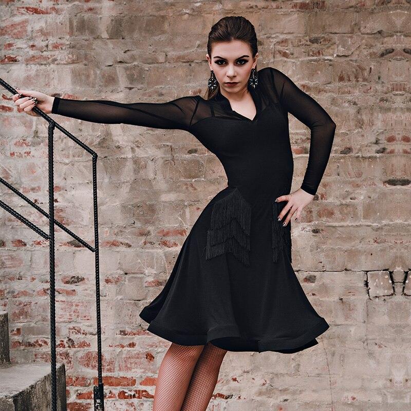 New Latin Dance Competition Dresses V neck Performance costume of women Latin Tassel skirt 2 colors