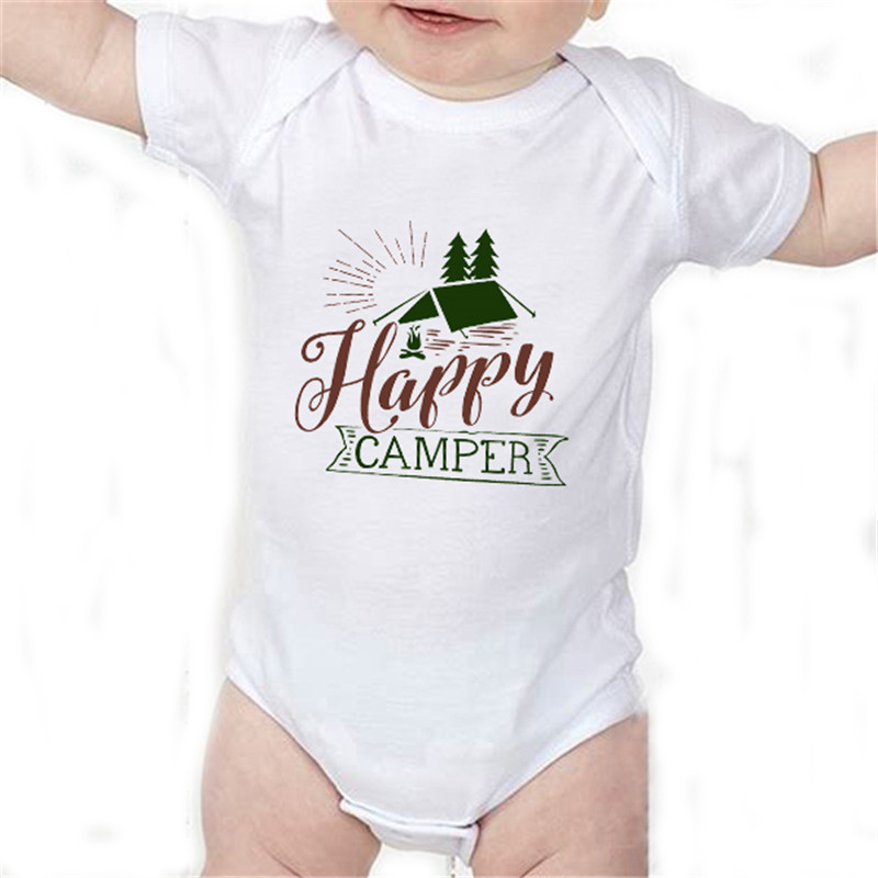 HY0076 Summer Letters Baby Bodysuit Short Sleeve Happy Camper Print Baby Onesie