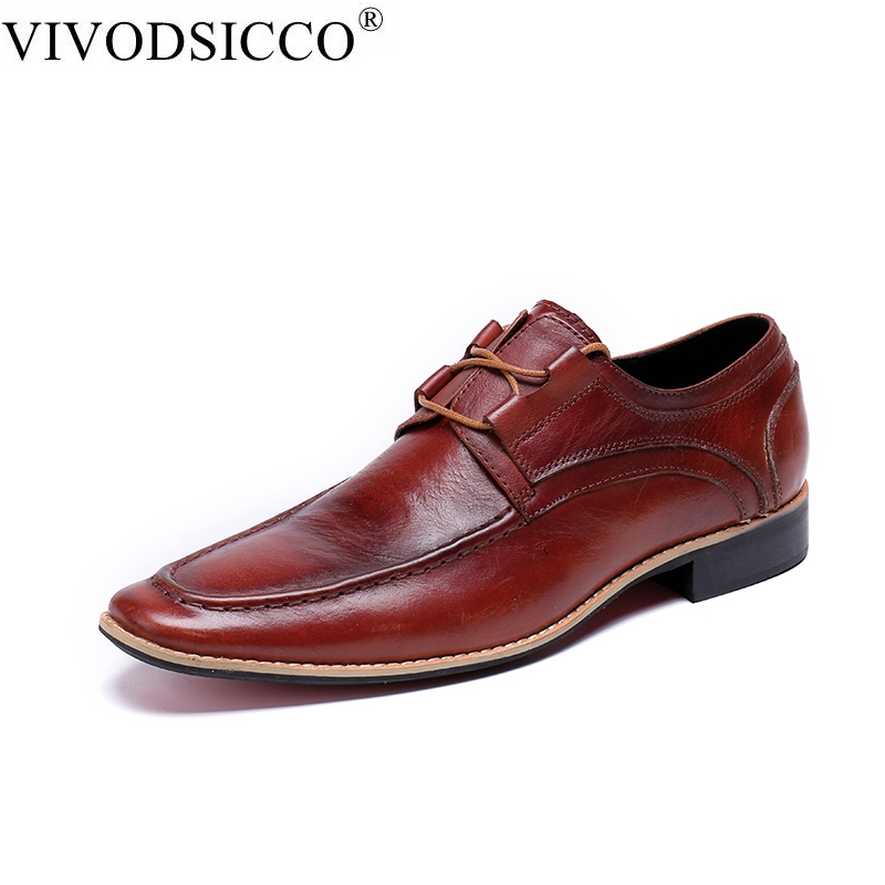 VIVODSICCO Luxury Men Business Formal Dress Shoes Oxford Men Leather Shoes Lace-Up Pointed Toe British Style Men Wedding shoe pjcmg new fashion luxury comfortable handmade genuine leather lace up pointed toe oxford business casual dress men oxford shoes