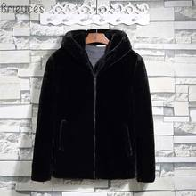 Brieuces Men Fashion Faux Fur Short Jacket Coat Autumn Winter Warm Imitation Wool Thick Hooded Male