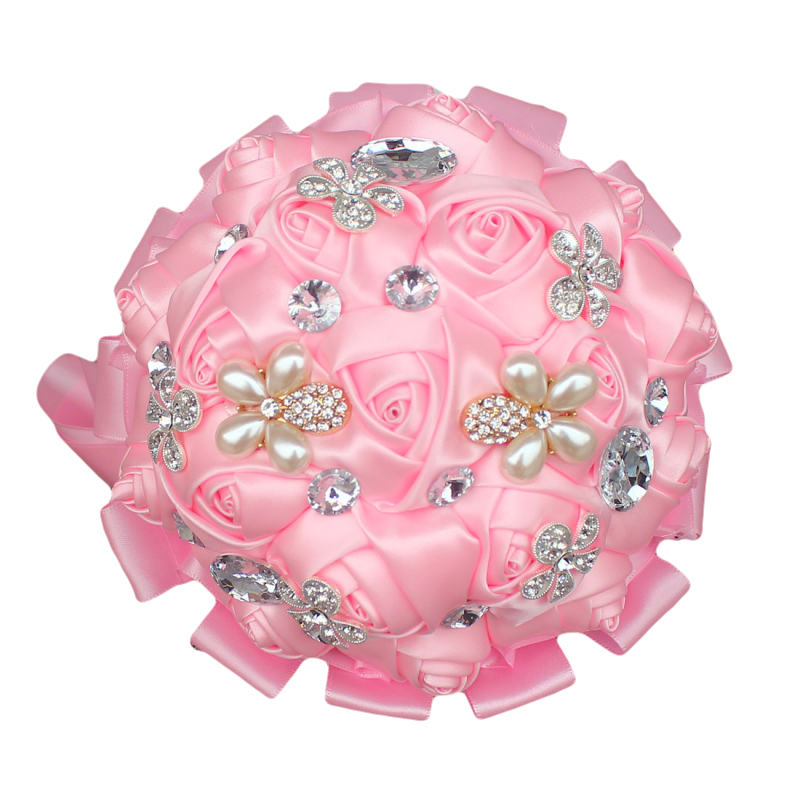 100% High Quality Brooch Bouquets Baby Pink Artificial Flowers Bridal Bouquet de Marriage Hand Holding Wedding Bouquet W225D