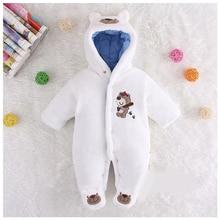 Cute Autumn Winter Cotton Baby Romper Fleece Long Sleeve Coverall Hooded Infant Jumpsuit Bear Down Snowsuit Babies Jumpsuits
