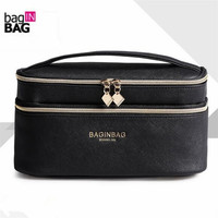 Fashion Double Layer Brand Cosmetic Bag Cross PU Leather Multifunctional Make Up Bag Organizer Makeup Pouch