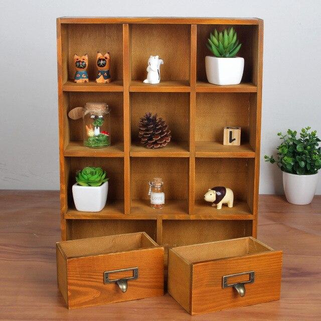 1PC Zakka Wood Drawer Cabinets Wooden Lockers Hanging Closet Retro Wooden  Display Cabinet Storage Box J0942