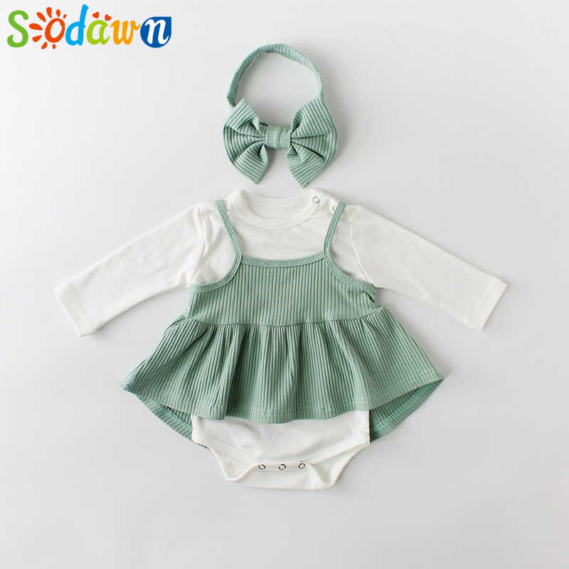 Baby Clothes 2019 Spring New Baby Clothing Girl Solid Color One-Piece Dress +Strap Dress Set Bodysuit Girls Clothes