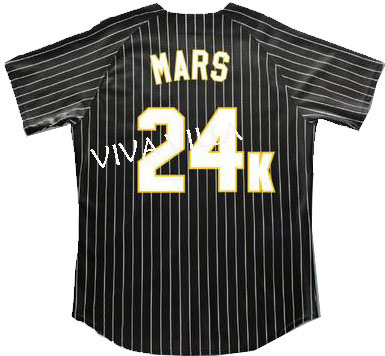 Bruno Mars 24K Hooligans BET Awards Baseball Jersey Stitched Throwback Baseball Jerseys Free Shipping VIVA VILLA цена