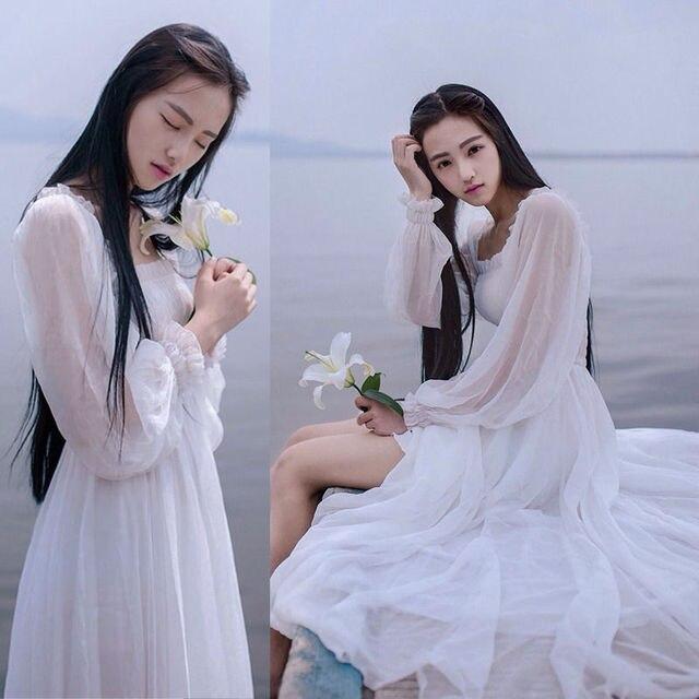Meisjes Fee Chiffon Jurk Womens Witte Jurken Lange Lantaarn Mouwen Fantasy Prinses Maxi Elegante Hoge Kwaliteit Vloer Lengte Jurk
