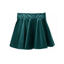 New Lady Girls Faux Leather Skirt High Waist Skater Flared Pleated Short Mini Skirt