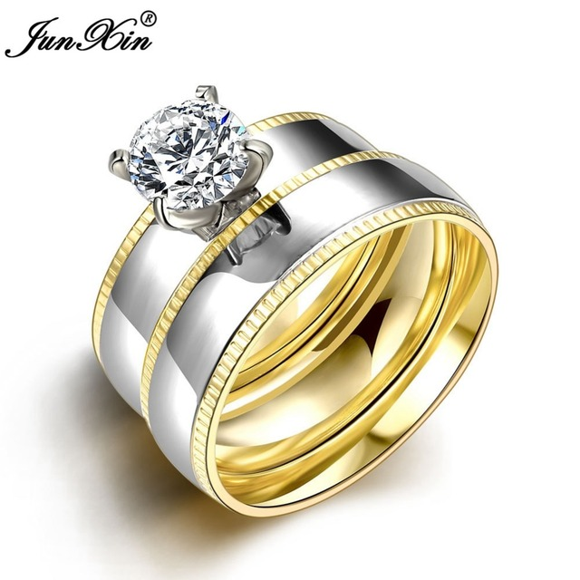 JUNXIN Smooth Silver Gold Colors Stainless Steel Ring Sets Male Female Vintage  Wedding Rings Gifts For