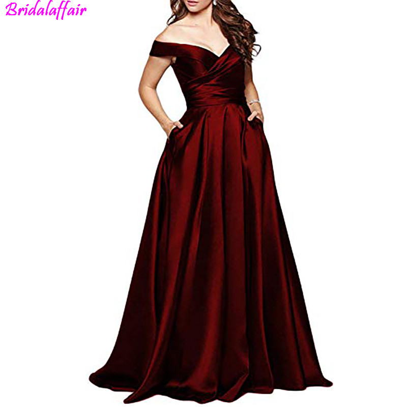 2019 Elegant Off Shoulder Long Prom Dresses Sexy V-Neck Burgundy Prom Gowns Slit Formal Party Dress with botton Vestidos De Gala