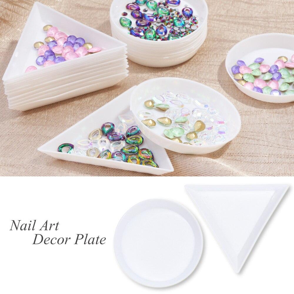 5pcs Nail Triangle Circular Plate Rhinestones Decoration Display Holder Plastic Storage Case Manicure Salon Container Tool JIA11
