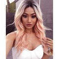 Perfect Wavy Glueless Natural Heat Resistant Hand Tied Synthetic Lace Front Wigs Pink Color Kanekalon Hair Body Wave Party Wigs