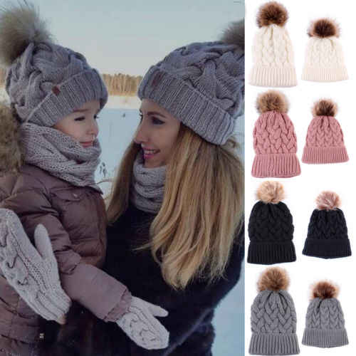 d9f38bc035d Pudcoco New Winter Wool Knit Hat Mother Baby Dad Fur Ball Beanie Knit Winter  Outdoor Warm