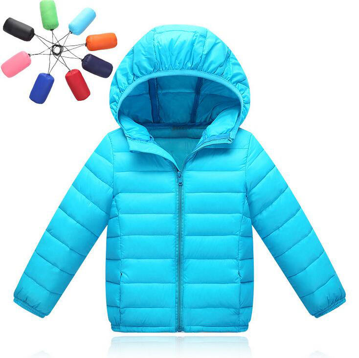 Short Style Ultra Thin White Duck Down Children's Coats Winter Solid Color Down Jacket For Girls Hooded Zipper Boys Jackets