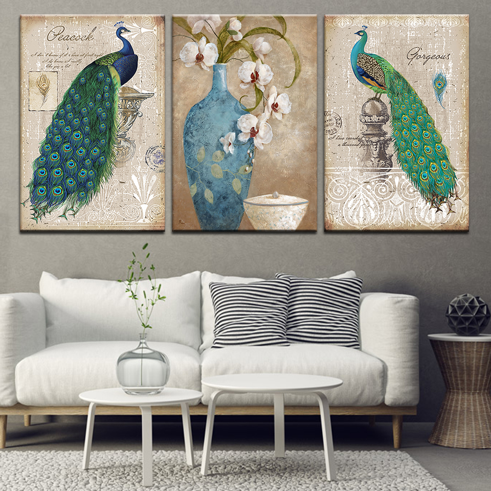 Canvas HD Prints Poster Wall Art Frame Painting 3 Pieces Beautiful flower animal Peacock For Living Room Picture Home Decoration in Painting Calligraphy from Home Garden