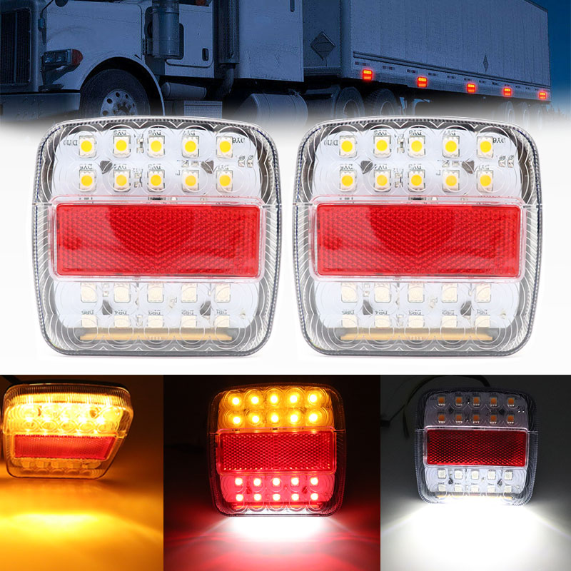 12V 26LED Trailer Truck Caravan Rear Tail Light Turn Signal Indicator Brake Stop Lamp Taillight Number Plate Light Reverse Van