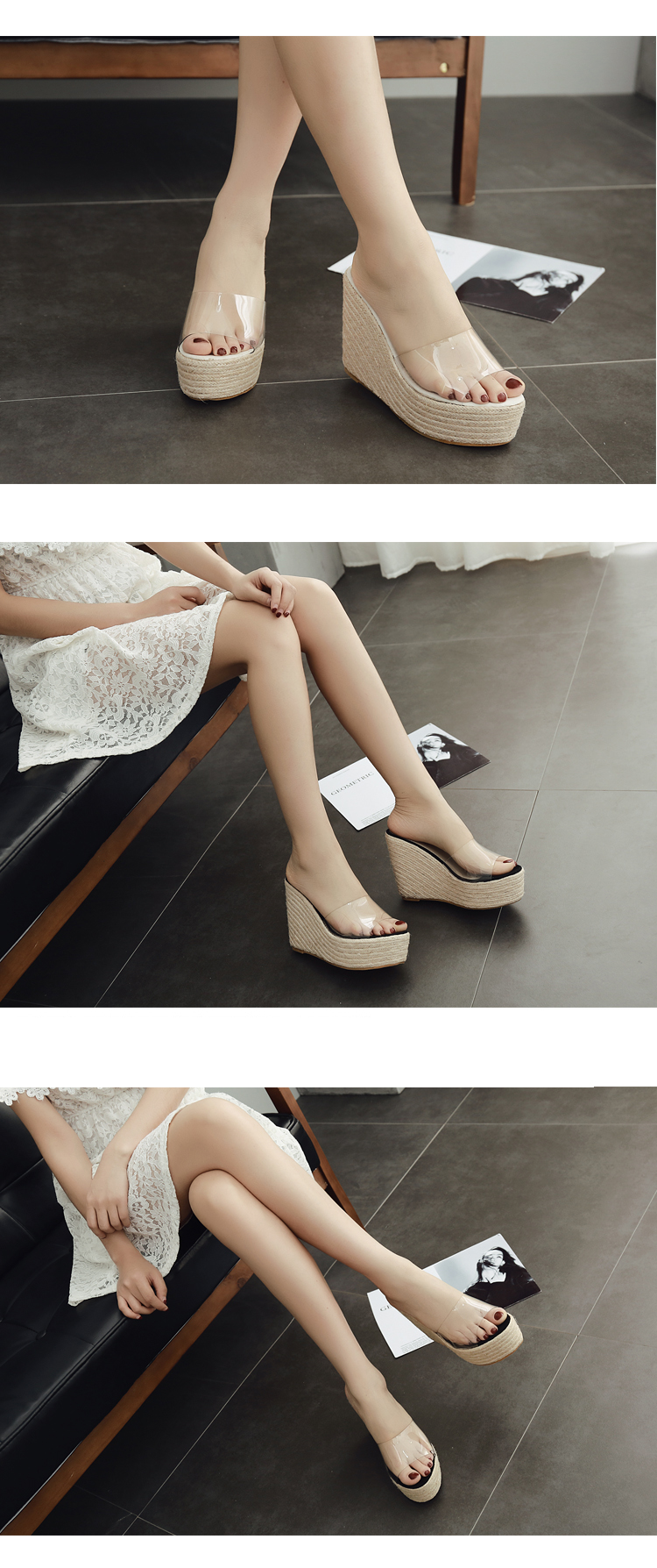 HTB1Sj7inf9TBuNjy0Fcq6zeiFXa3 Eilyken 2019 New Summer PVC Jelly Sandals slippers Shoes Casual Sexy Wedges 11.5CM Women's Sandals slippers size 34-40