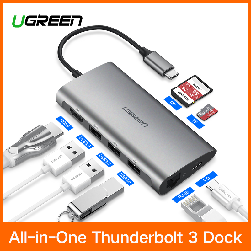 Ugreen Thunderbolt 3 Dock adaptador USB C a 3,0 HUB HDMI RJ45 tipo C Convertidor para MacBook Pro Huawei P20 /Mate 10 USB-C adaptador