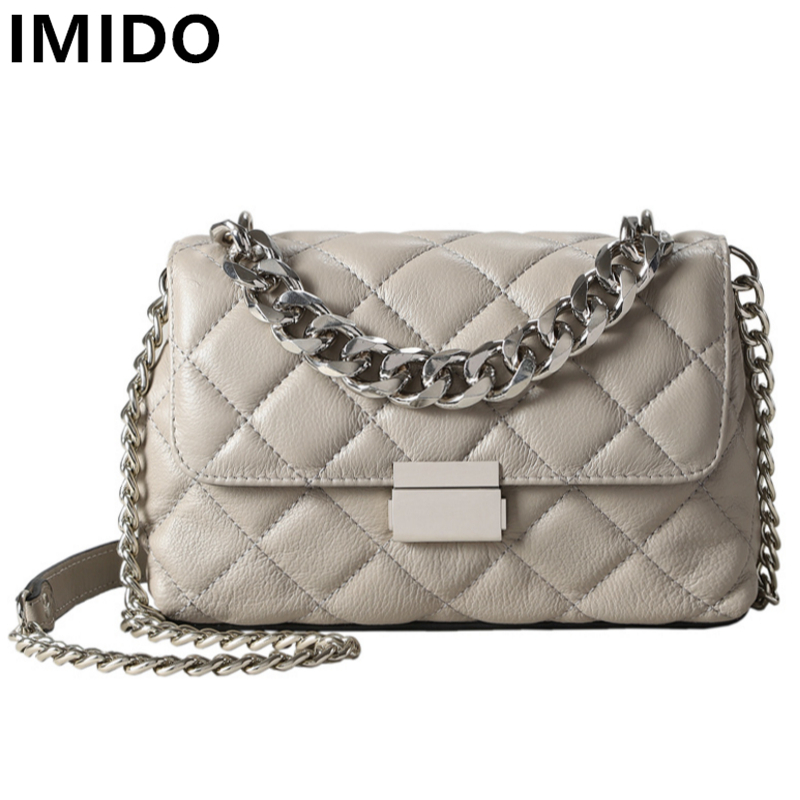 IMIDO Genuine Leather Women Bag Retor Cow Leather Women Handbags Girls Chain Flap Shoulder Messenger Bags Plaid Crossbody Bag new women genuine leather handbags shoulder messenger bag fashion flap bags women first layer of leather crossbody bags