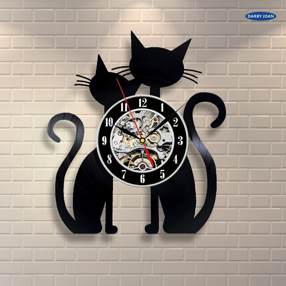 12 Inch Creative Cute I Love Cats Exclusive Wall Clock Made Of Vinyl Record Home Decor Art Gift Personalized