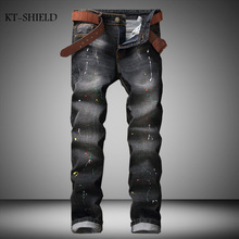 brand Designer Printed biker jeans Men Fashion Brand Elastic jeans homme High Quality Ripped Jeans For Men Denim Hip Hop Pants