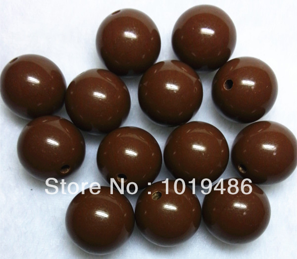 Brown Color Large 20MM 105pcs/lot Chunky Gumball Bubblegum Acrylic Solid Beads ,Colorful Chunky Beads For Necklace (B04)