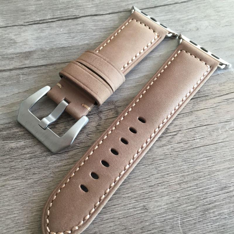 dd4a51d0e55 Tjp preto verde cáqui bezerro genuína pulseira de couro relógio cinta para  iwatch apple watch band 38mm 42mm com adaptador em Pulseiras de relógio de  ...