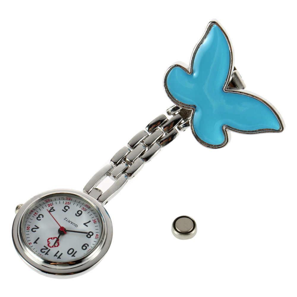 Bentuk Kupu-kupu Antik Stainless Steel Saku Perawat Fob Watch Perak Medis Dokter Bros Kuarsa Analog Pendant Watch