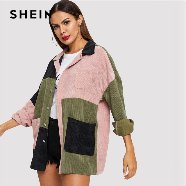 SHEIN Multicolor Casual Colorblock Cut And Sew Single Breasted Pocket Front Corduroy Jacket Autumn Leisure Women Coat Outerwear 6