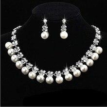 2016 Nueva Llegada de la perla blanca de Lujo sistemas de la joyería de Plata de cristal collar de la boda conjuntos de Novia sistemas de la joyería de accesorios