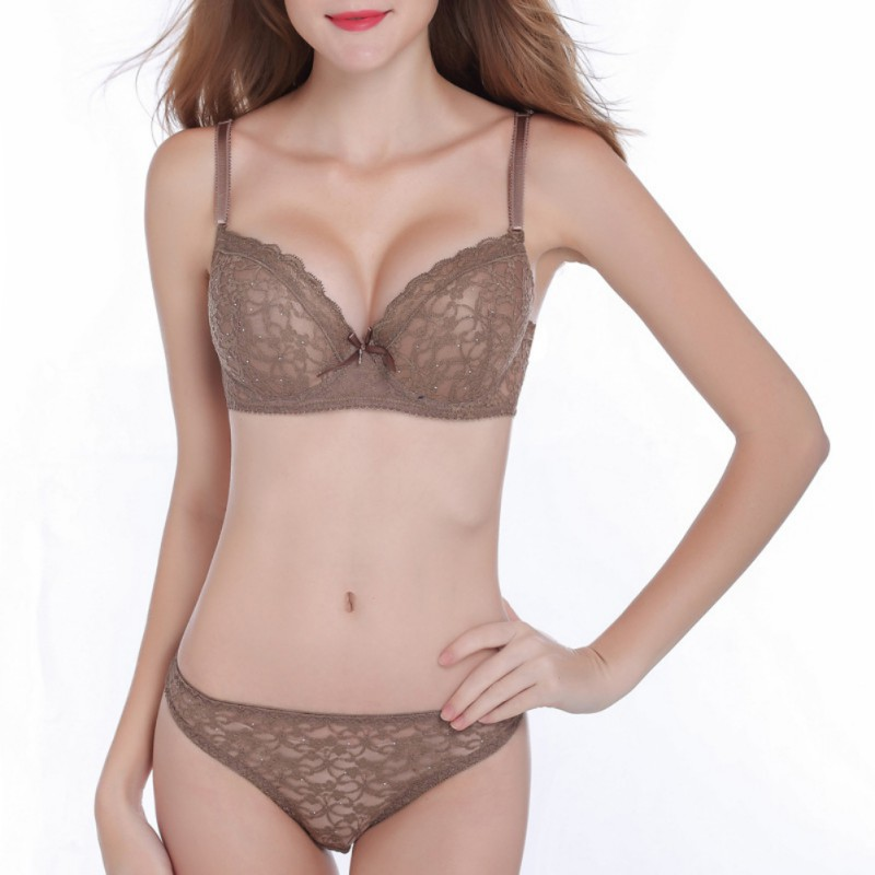 New 2019 Lace Drill   Bra     Set   Women Plus Size Push Up Underwear   Set     Bra   And Thong   Set   Cup For Female