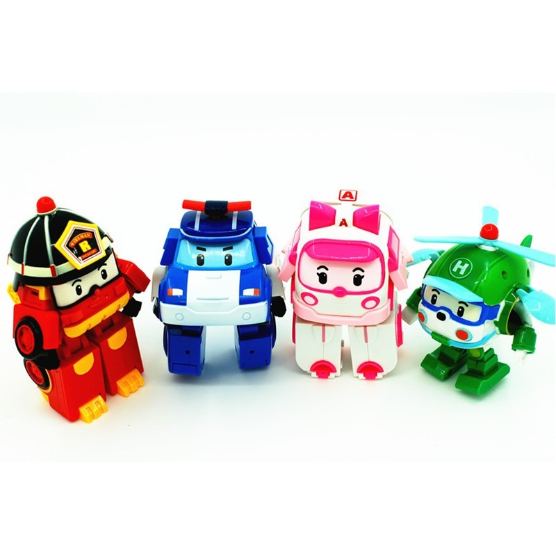 4pcs/lot kids toys robot Transform festival gifts deformation helicopter fire truck police action figure doll boys gifts toy #E shineheng new arrival deformation movie 4 mount strafe robot action figure toy abs
