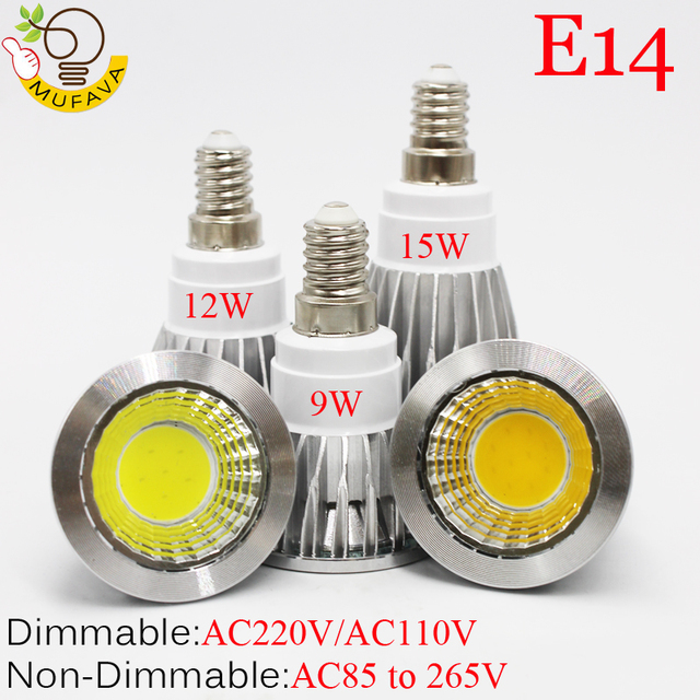 E27 E14 GU10 MR16 LED COB Spotlight Dimmable 9w 12w 15w Spot Light Bulb high power lamp DC12V or AC85-265V