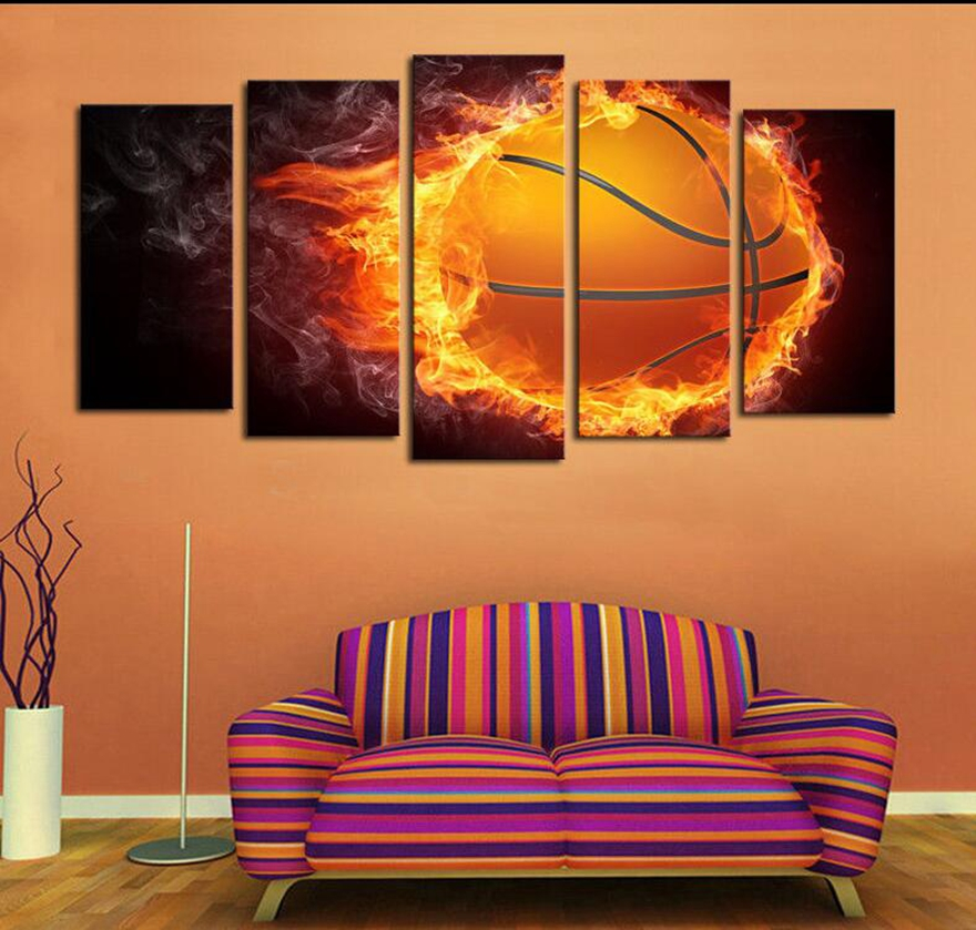 Flame Basketball 5 Piece Canvas Wall Art Printed Picture and Poster Home Decor