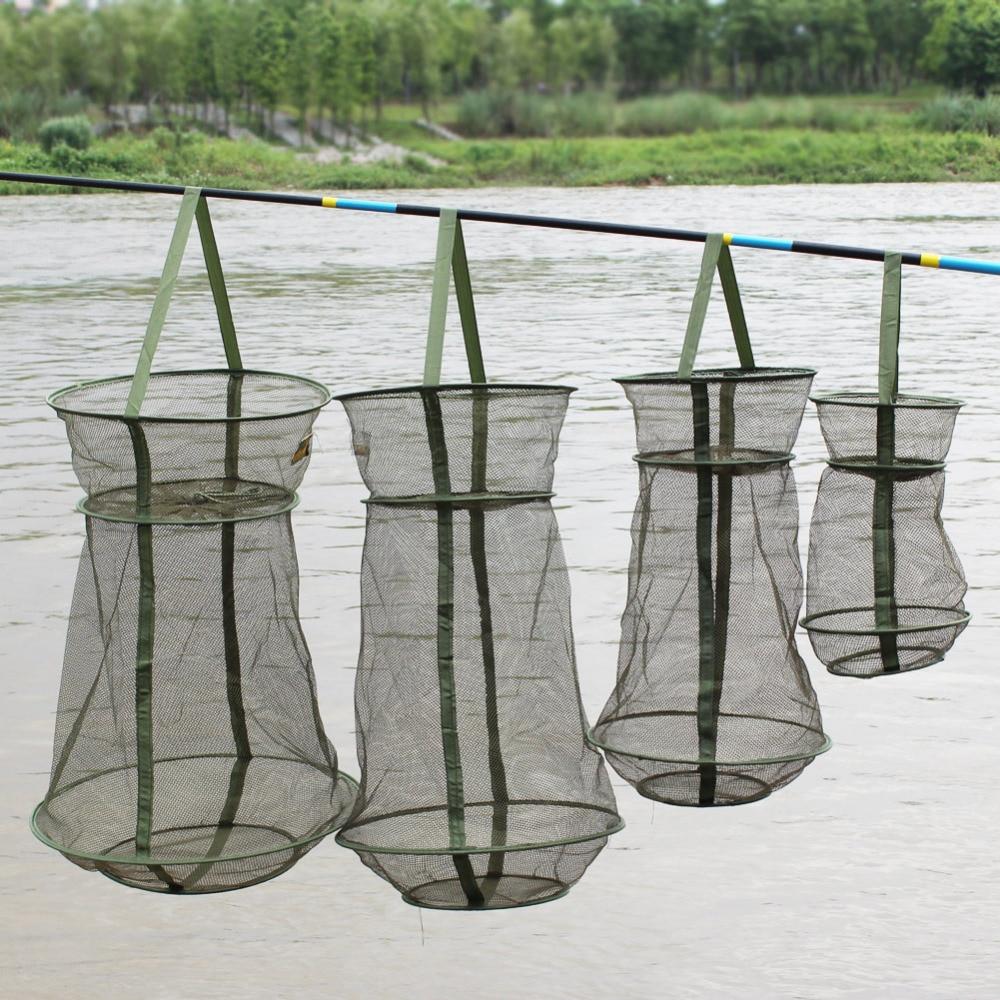 Sougayilang 4Size Portable Fish Net 3 kihi ümmargune volditav võrgusilma kala 25cm 35cm 42cm 50cm odav kalapüügivõrk