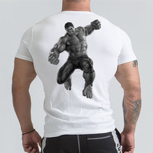 Marvel Hulk T Shirt Avengers Printed Short sleeve T-shirts Men Gyms Workout Tee Cotton Fitness Clothing 2019 Male Crossfit Tops